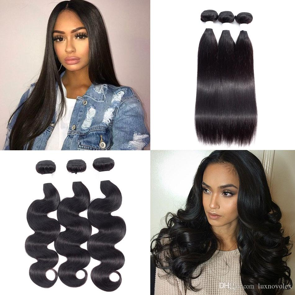 8A Brazilian Straight Virgin Hair Bundles Peruvian Malaysian Indian Body Wave Human Hair Weave Bundles Natural Color Hair Extensions