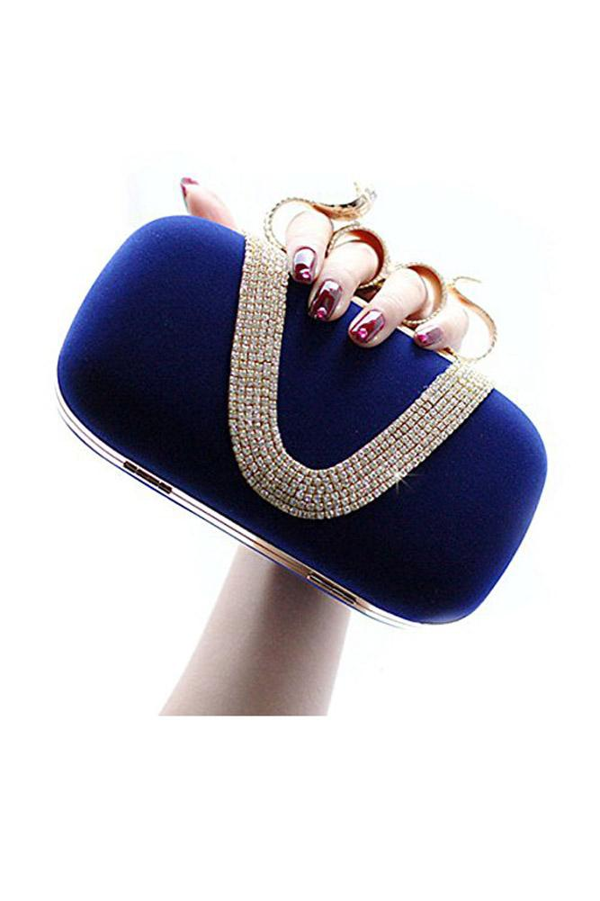 SNNY NEW Women's Elegant Evening Bag Ladies' Handbag Clutch Bag for wedding and evening dresses Snake Dark Blue