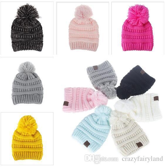 Compre Cc Label Niños Sombreros Invierno Cálido Bebé Niños Niñas ...