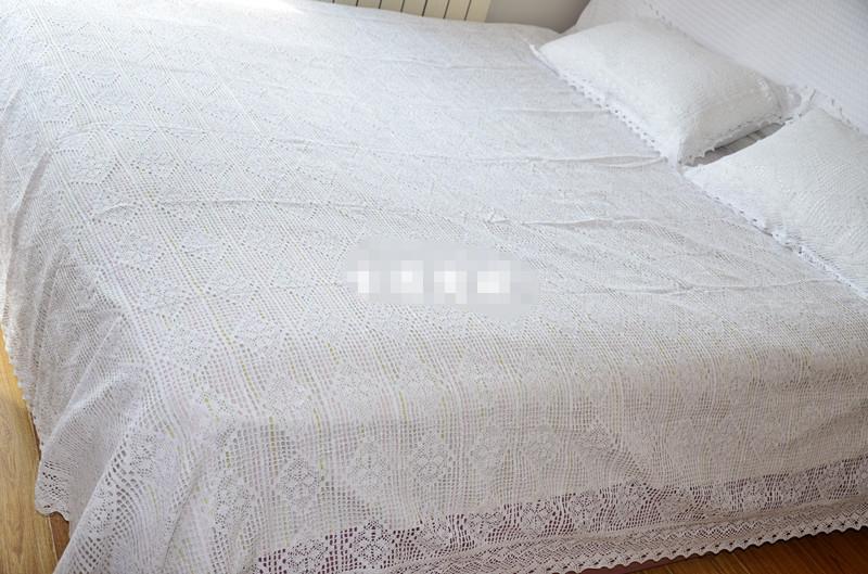 Compre Envío Gratis Algodón Blanco / Beige Copia Crochet Colcha ...