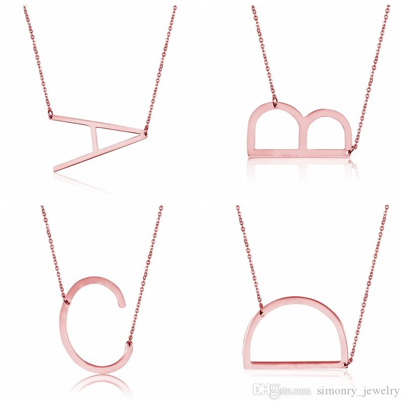 Letter Pendant Necklaces Stainless Steel H Alphabet Intitial Rose Silver Gold Choker Character Necklace Women Fashion Jewelry Wholesale