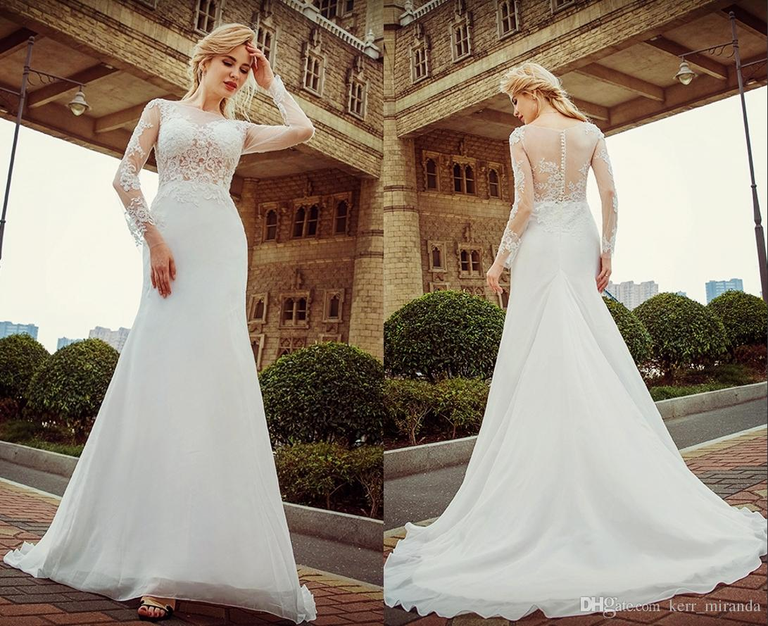 One Word Shoulder Wedding Dresses White Fish Tail Lace Long Sleeved Lace Sexy High Quality Spring Sticker Beaches Wedding Dresses DH103