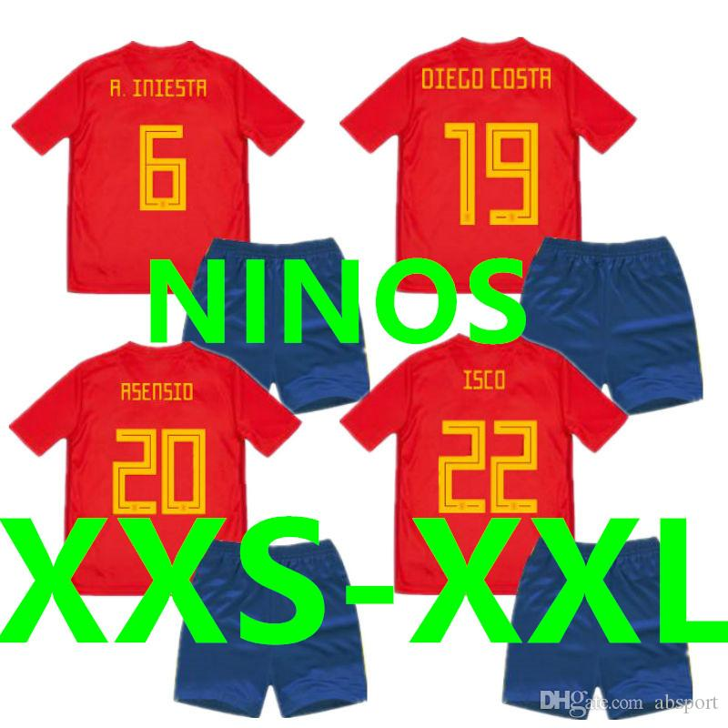 bb79858e2 Soccer Jersey Spain Kids Sets World Cup 2018 2019 Camisetas Espana ...