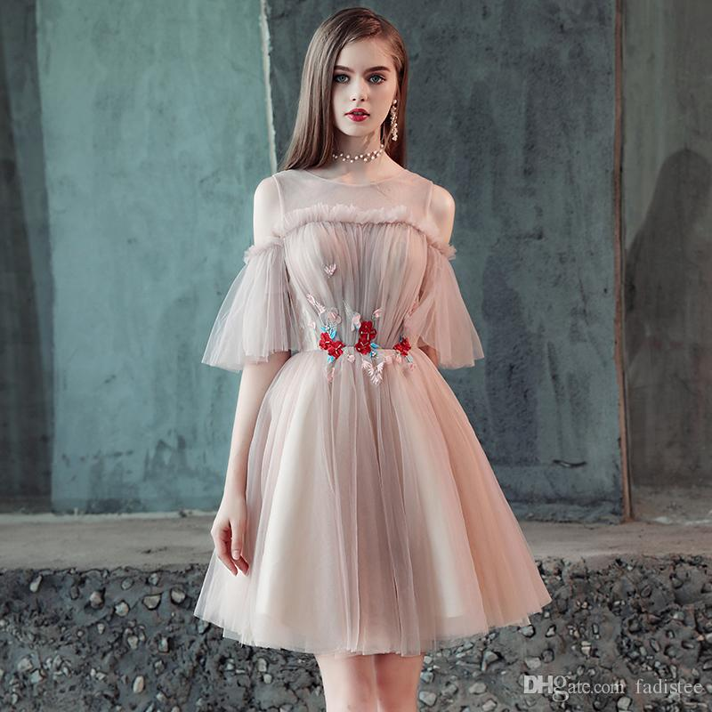 FADISTEE 2018 Autumn New Arrival Mordern Tulle Party Evening Dresses  Vestido De Festa Prom Robe De Soiree Frock Sexy Boat Neck Banquet Prom  Dresses Short ... 79b941304ce9
