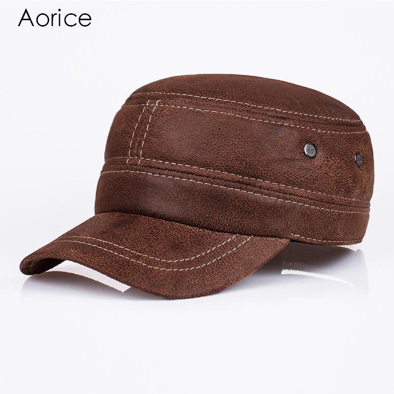 Aorice New Genuine Leather Baseball Cap Mens Hats And Caps Leisure Fashion  Solid Color Brown Black Dad Hat Quality Brand HL019 D18110601 Cap Rack Caps  From ... 48033ef2f414
