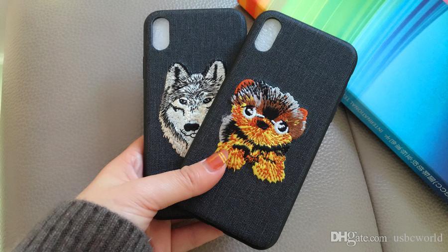 Animal bordado modelado phone case para iphone x 8 7 6 6 s 6 plus 6 splus 7 mais tampa do telefone de volta
