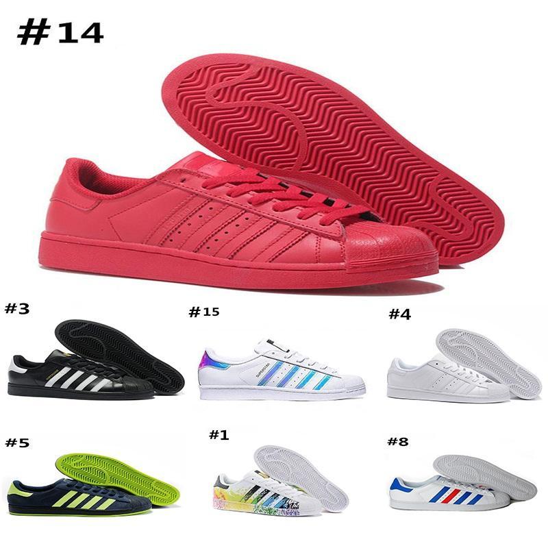 brand new 6d400 5a13e Compre Adidas Superstar 80s Muchos Colores 2018 Al Por Mayor Barato Super  Star Blanco Holograma Iridescent Junior Superstars Zapatos Super Star  Mujeres ...