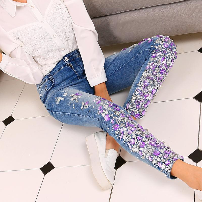 3d6a083e97 Jeans strass Diamond Pocket Jeans Donna Pantaloni Streetwear