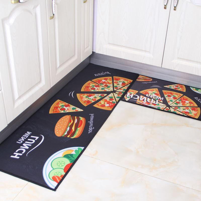 2pcs Set Anti Slip Washable Modern Kitchen Mat Sets Bathroom Carpet Mats Entrance Doormat Bedroom Table Rugs