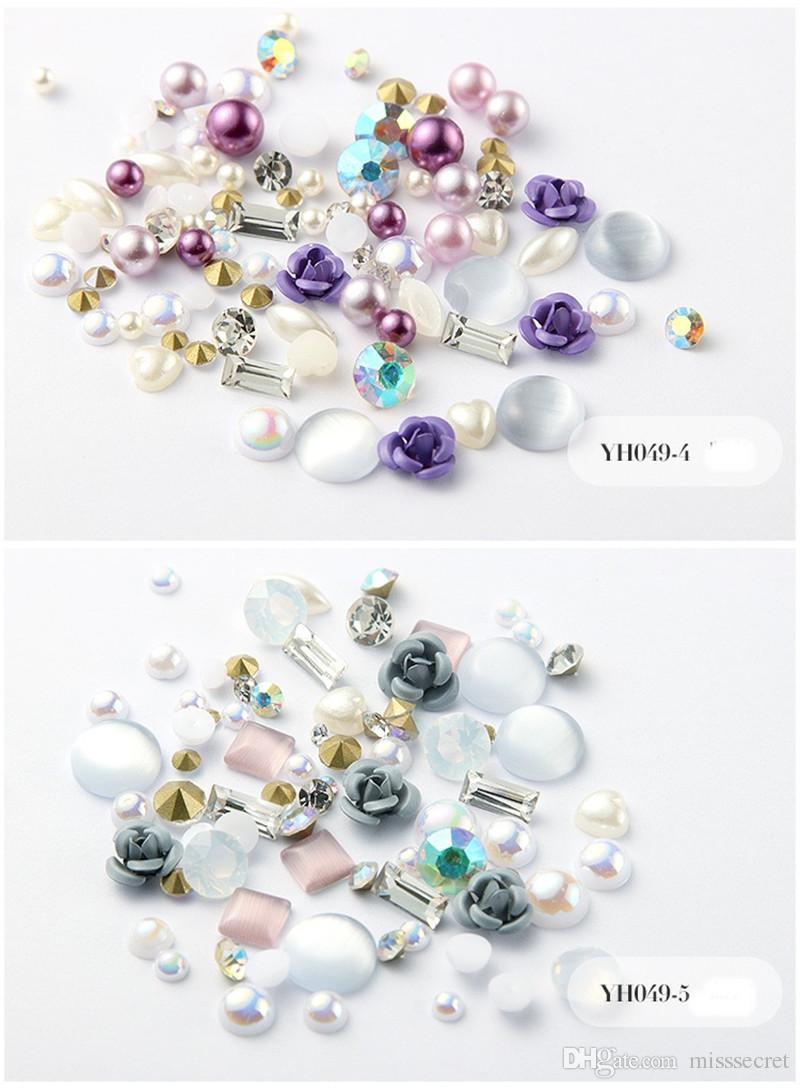 12 цветов 3D Rose Flower Nail Art украшения Блеск Алмазный Pearl Nail Art Поставки Nail Makeup DIY