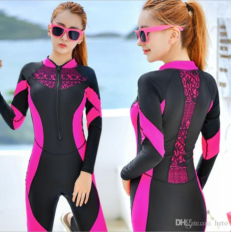 2019 Lace Wetsuit Women Zipper Swimsuit Full Body Jumpsuits Diving Suit  Rash Guard Wetsuits For Swimming Surfing Sports Clothing Rash Guards From  Heto 95f8a492a