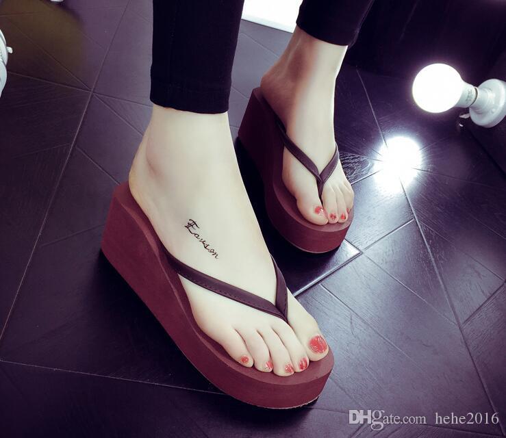 2017 High Heel Flip-Flops weiblichen Sommer koreanischen Mode dicken Hang mit Sandalen wasserdicht Taiwan Strand Schuhe rutschfeste Flip-Flop Flip-Flops
