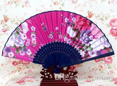 Tragbarer japanischer Gewebe-Handventilator Bambusblumenfertigkeits-Silk faltende Fans für Hochzeiten Partei-Frauen bevorzugen Fan-Großverkauf