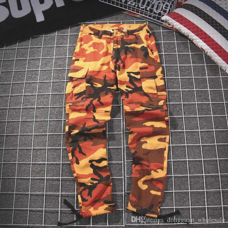 Брюки-карго Уличная одежда Женщины Мужчины Желтые оранжевые камуфляжные штаны 18 Jogger Повседневные армейские красные розовые камуфляжные штаны Спортивные штаны