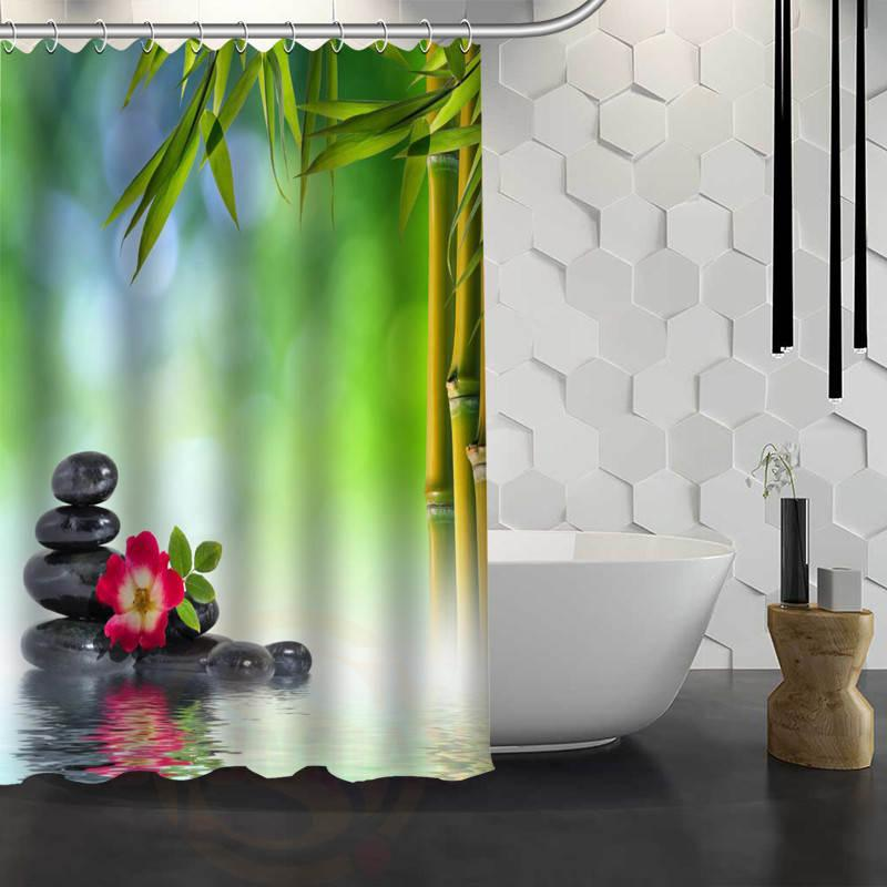 Hot Sale Custom Bamboo And Stone Shower Curtain Waterproof Fabric Bath For Bathroom FY1 17 UK 2019 From Hariold 4221