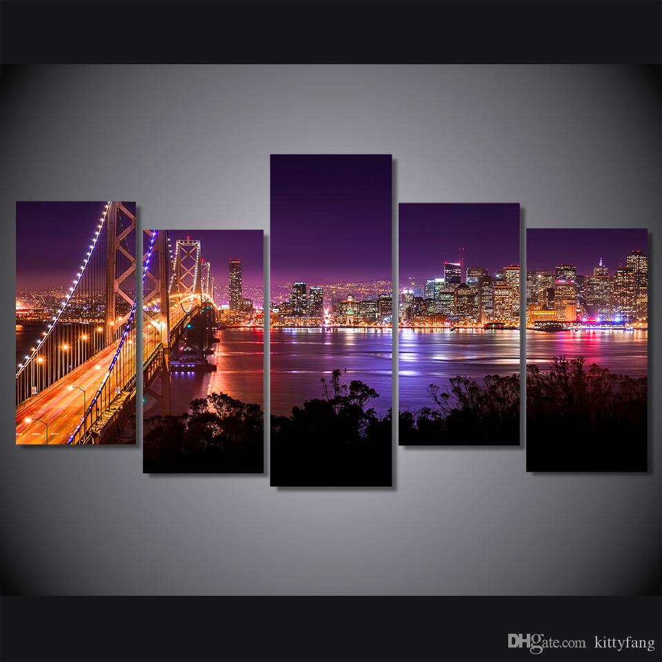 san francisco Night Bridge HD Printed Wall Art Pictures Canvas Paintings For Living Room Home Decor