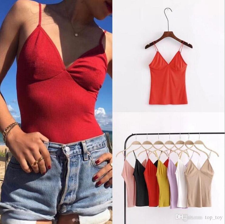 f8c962fd7eb4 Women Tops Summer Solid Camis Sexy V Neck Casual Bodycon Sleeveless ...