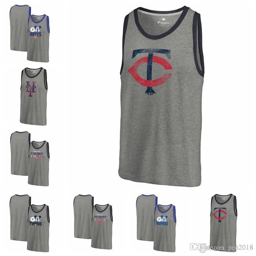 4d5560084 Men s Vest New York Mets Minnesota Twins Milwaukee Brewers Fanatics Branded  Freedom Tri-Blend Tank Top Heathered Gray Sleeveless Milwaukee Brewers  Jerseys ...