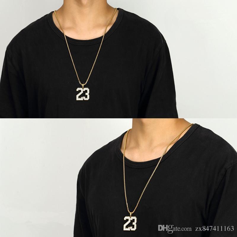 Мода Мужская Хип-Хоп Золото 23 Количество Ожерелье Ювелирные Изделия Горный Хрусталь Дизайн 75 см Длинные Цепи Мужчины Ожерелье Для Мужчин