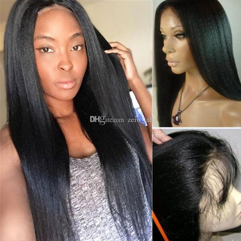 Silk Top Human Hair Wigs Yaki Straight Peruvian Virgin Human Hair Silk Base Full Lace Wig Glueless Light Yaki Silk Top Lace Wig