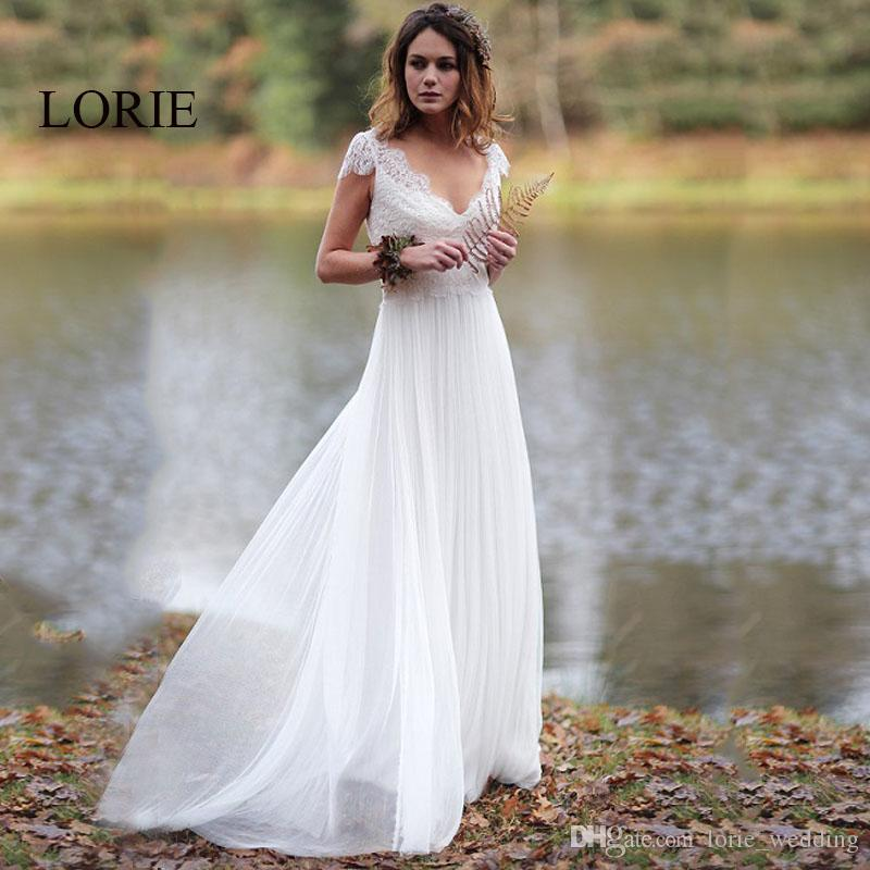 Lorie Lace Wedding Dresses 2019 Appliqued With Lace A Line: Discount LORIE Beach Wedding Dress 2019 V Neck Appliqued