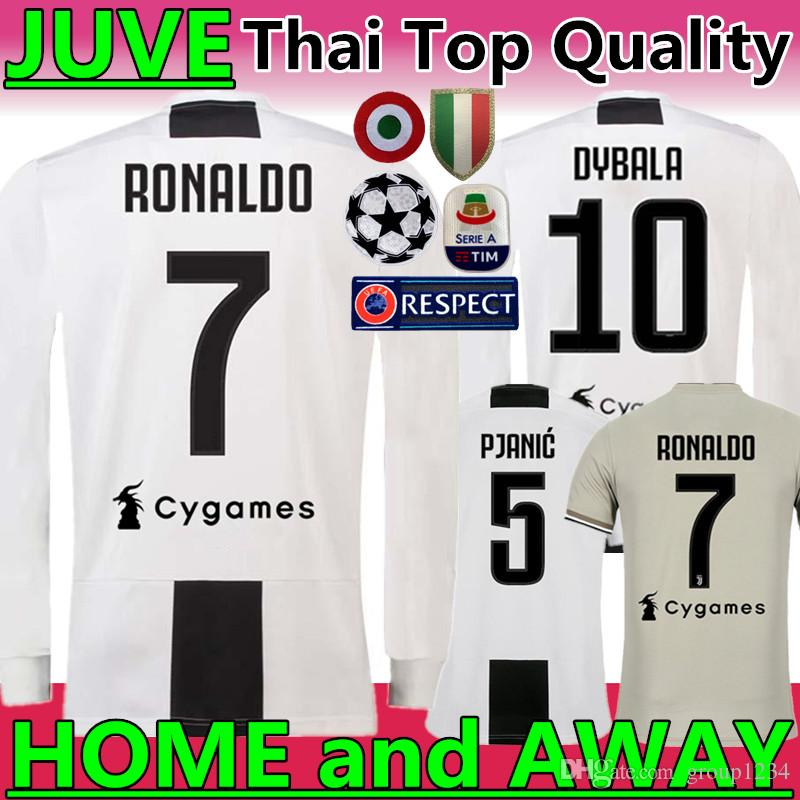 sports shoes f772a 6b4c4 New 2019 #7 RONALDO JUVENTUS HOME Long sleeve Soccer Jerseys 18 19 JUVE #10  DYBALA MANDZUKIC #11 D. COSTA AWAY Football uniforms