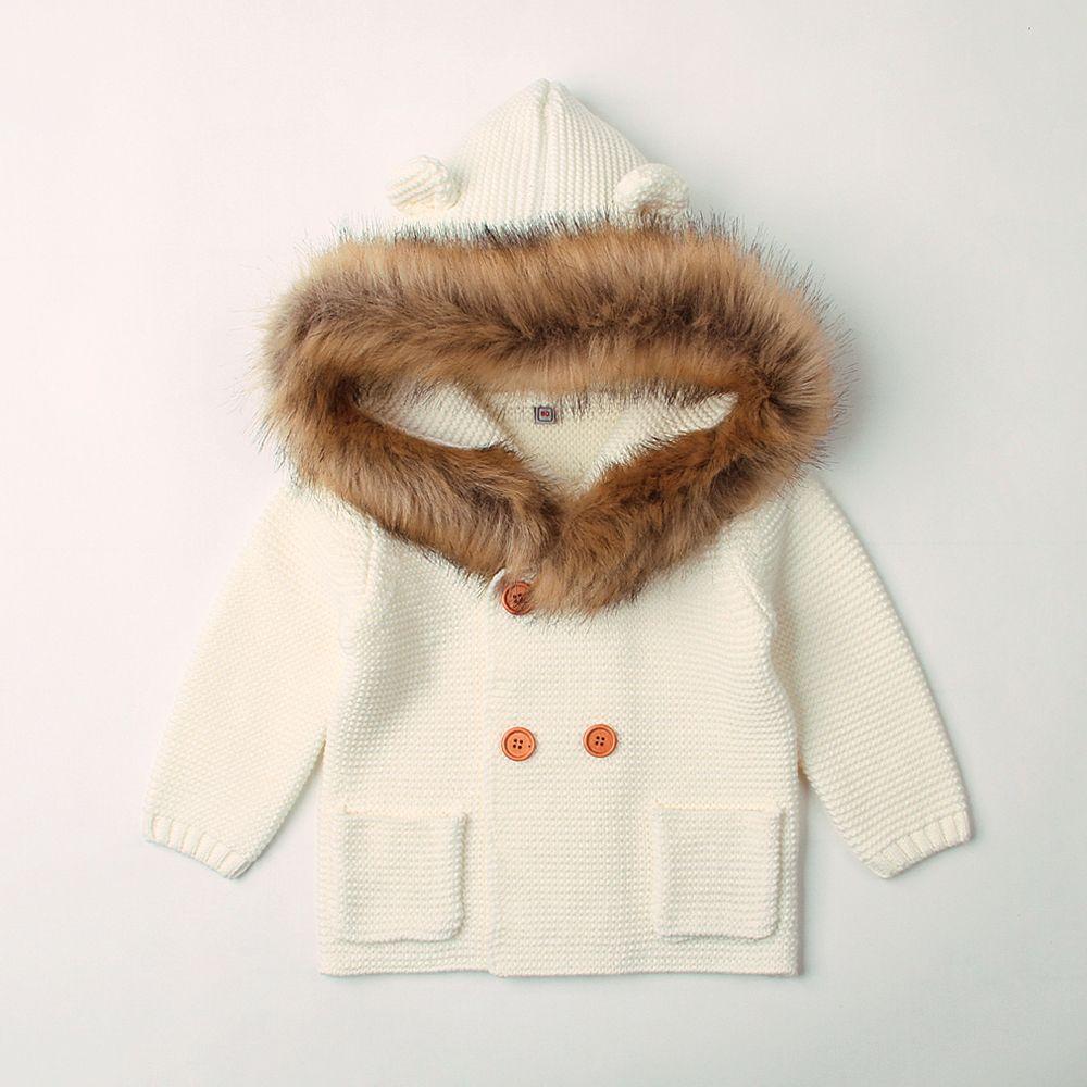 6bab8138a4ce 6 24M Winter Warm Newborn Baby Sweater Fur Hood Detachable Infant ...