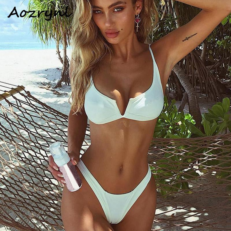 71542be286 AOZRYNL 2018 Sexy Bikinis V Neck Women Swimwear Female Swimsuit Push Up Bikini  Set Brazilian Thong Bathing Suit Solid Beach Wear NZ 2019 From Brry