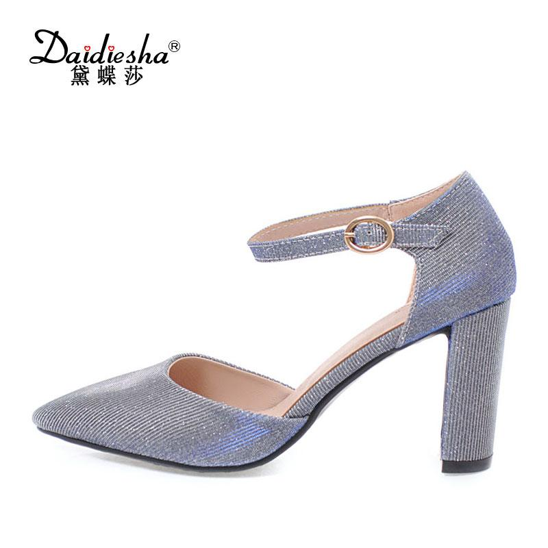 48437aa320 Compre Venda Por Atacado 2018 Partido Sapato Mulher Salto Bling Dedo  Apontado Sexy Ladies Salto Alto 8 Cm Fivela Cinta Feminina De Duas Peças  Sapatos Roxo ...