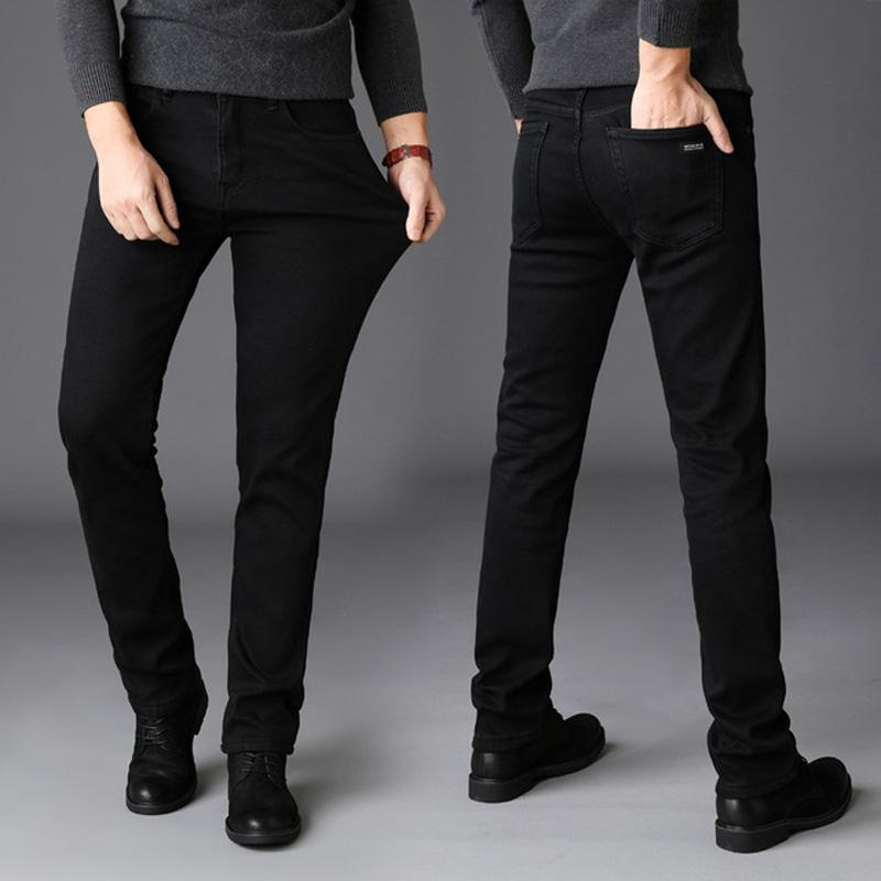 133d019b332d4a 2019 New Winter Jeans Men Black Color Slim Fit Stretch Thick Velvet Pants  Warm Jeans For Men Fashion Casual Fleece Trousers Male From Xiatian8