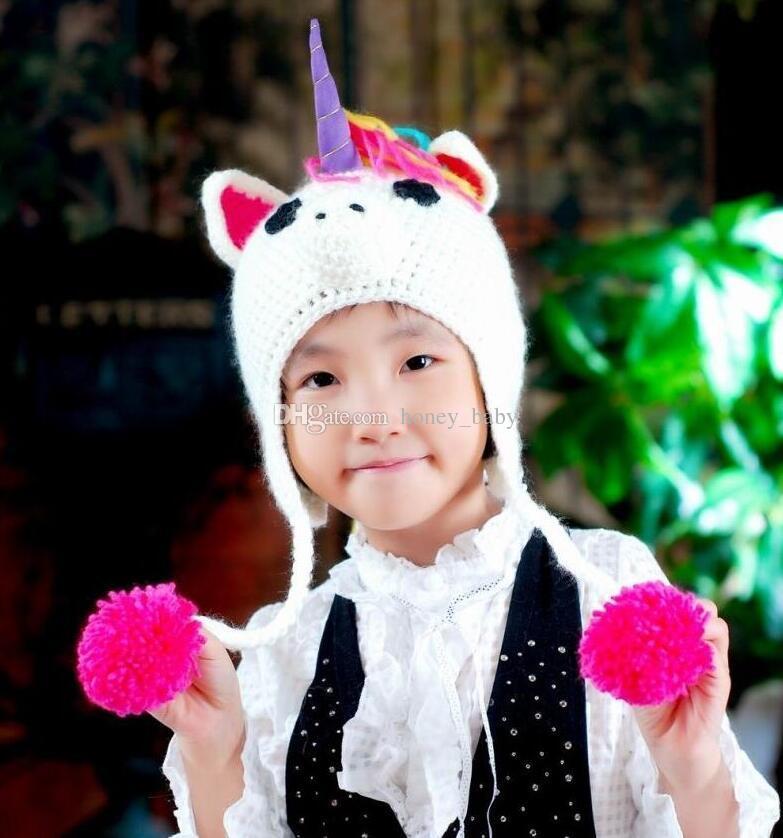 fe7f5b946c6 2019 Christmas Gifts Unicorn Pony Crochet Knitted Hat Cap Newborn Infant  Toddler Kids Cap Baby Boys Girls Winter Children Beanie Cotton Headgear  From ...