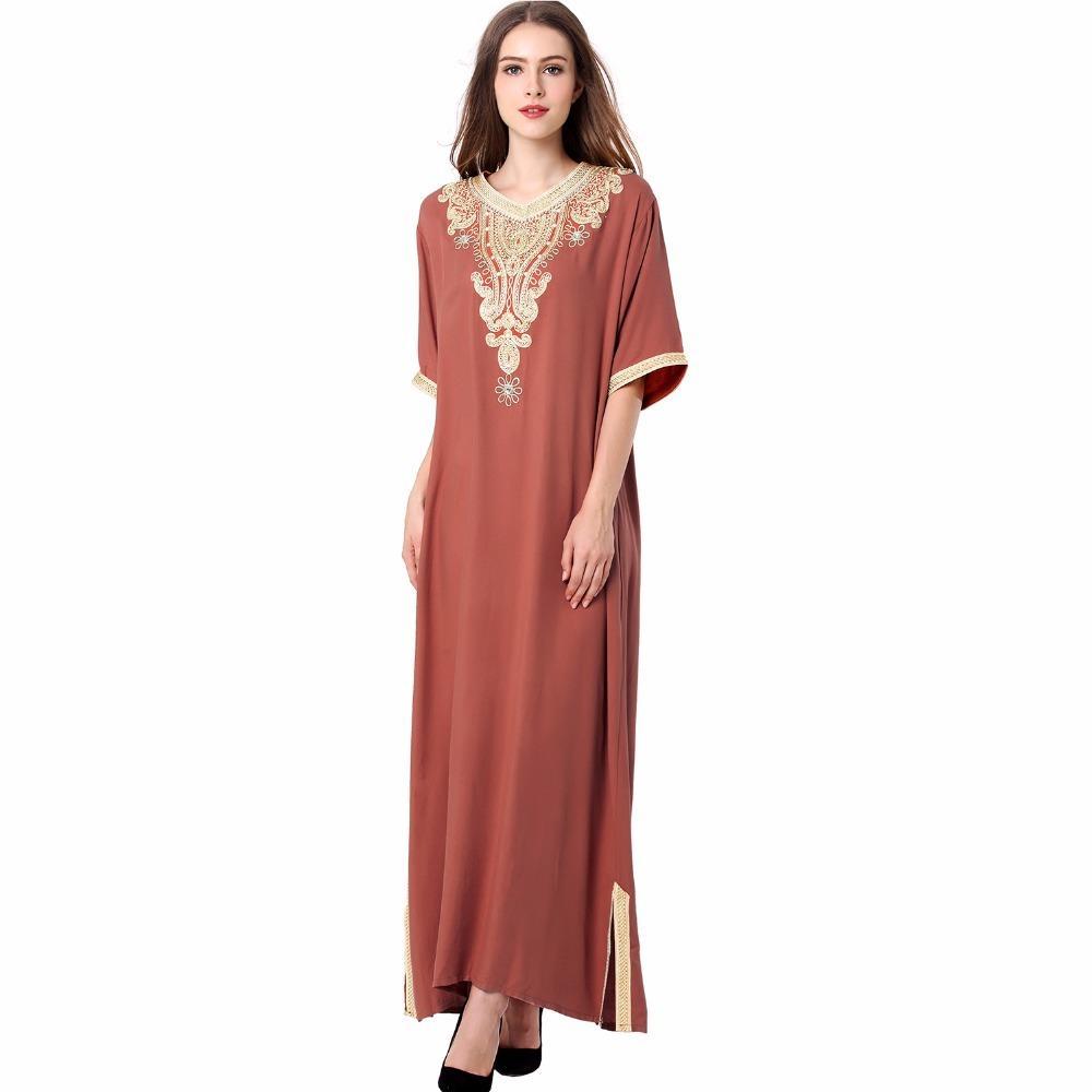 8ea1c0cf01ff Großhandel Langes Langes Kleid Maxi Muslimischen Kleid Islamischen Kaftan  Abaya Plus Größe Frauen Kleidung Große Größe Kleid Vintage Stickerei Tunika  ...