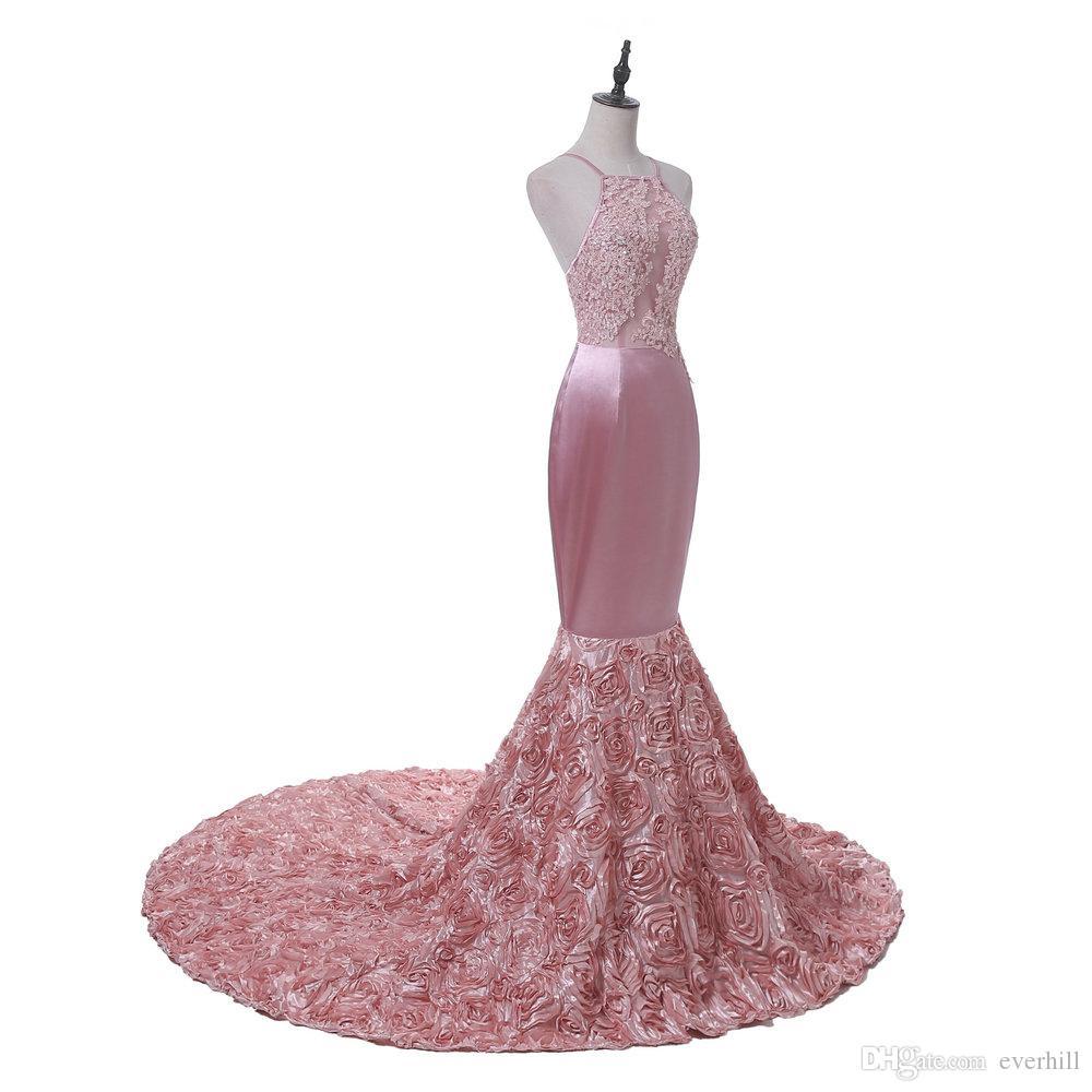 Sexy sirena da donna lunghi abiti da ballo con fiori rose 3D rosa pizzo paillettes abito da sera formale 2018 senza spalline backless abiti del partito