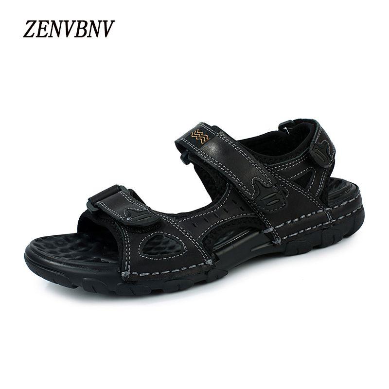 282e4bc98253 ZENVBNV 2017 Hot Sale New Retro Summer Leisure Beach Men Shoes High Quality  Leather Sandals Hook Loop Outdoor Men s Sandals Platform Sandals Wedges  Shoes ...