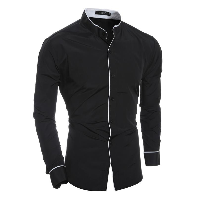 4f426f9df3b 2018 Fashion Men s Brand Shirt Solid Slim Long-Sleeved Shirt Male ...
