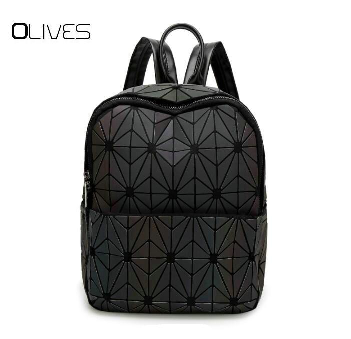 de9dda8973d5 2018 New Hologram Geometric Diamond Checkered Backpack Luminous Travel Men  And Women Backpack Pvc Laser Holographic Sac A Dos Gregory Backpacks Army  ...