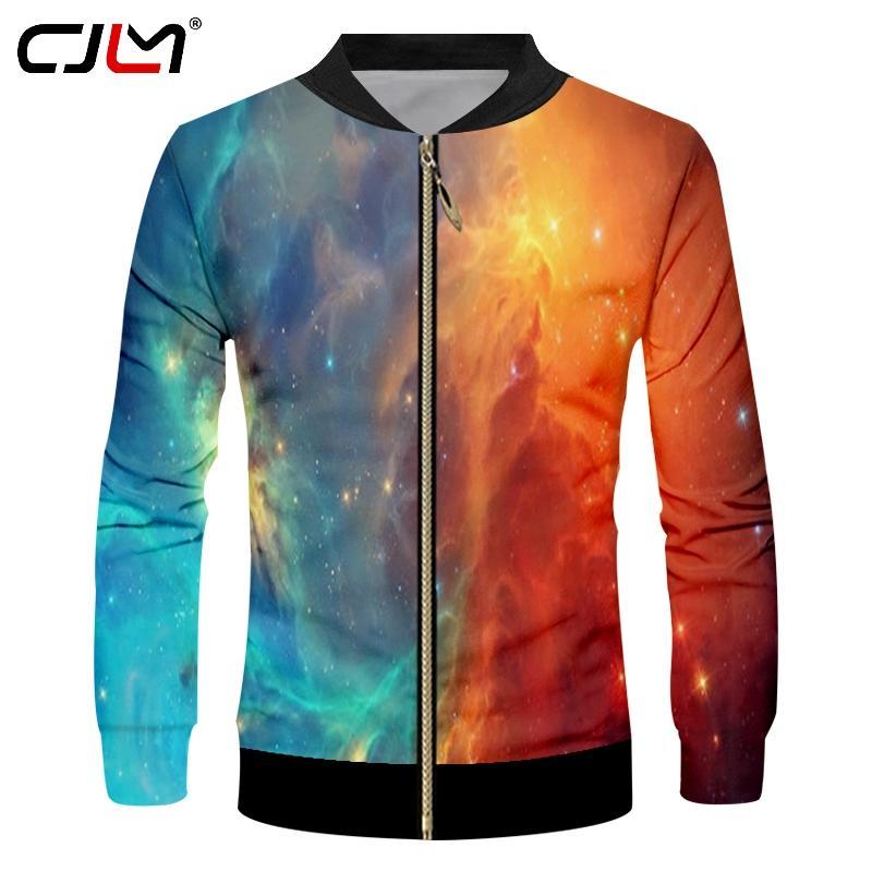 CJLM Uomo Personality 3D colorato completo stampato giacca a vento Harajuku Oversize cielo stellato Tema uomo Zipper Coat Best Selling