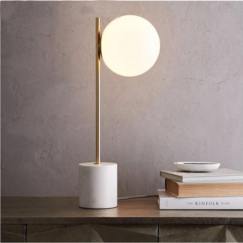 2019 Modern Nordic White Marble Table Lamp Light Led Tafellamp