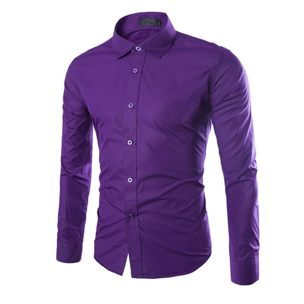 2019 Fashion Spring Autumn Men Work Shirt Long Sleeve Solid Color
