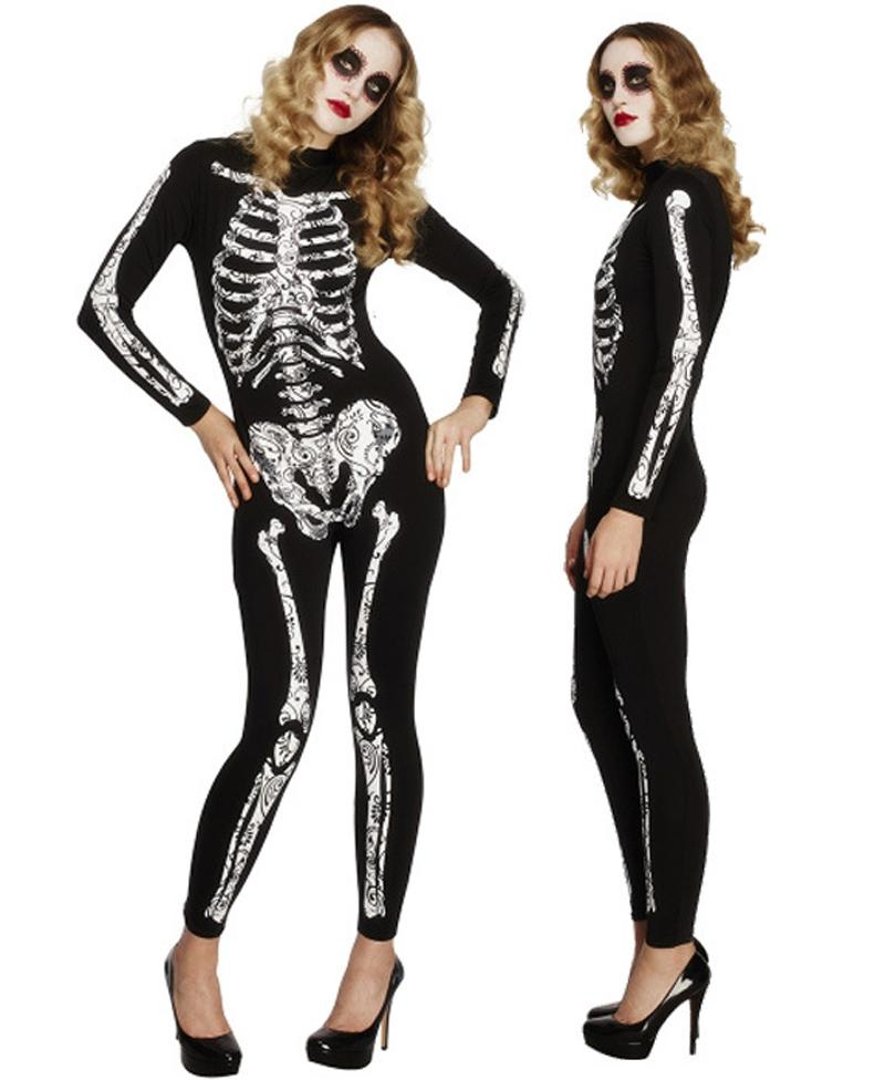 Skeleton Family Halloween Costumes.New Autumn Halloween Party Ghost Skeleton Cosplay Costume Women Black Long Sleeve Jumpsuit Zombie Corpse Scary Clothing