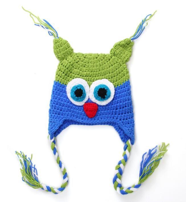 Winter Wool OWL Kids Manual Cap Crochet Lovely Baby Beanie Handmade Cap Children Infant Knit OWL Hats Wholesale 2017 New Fashion