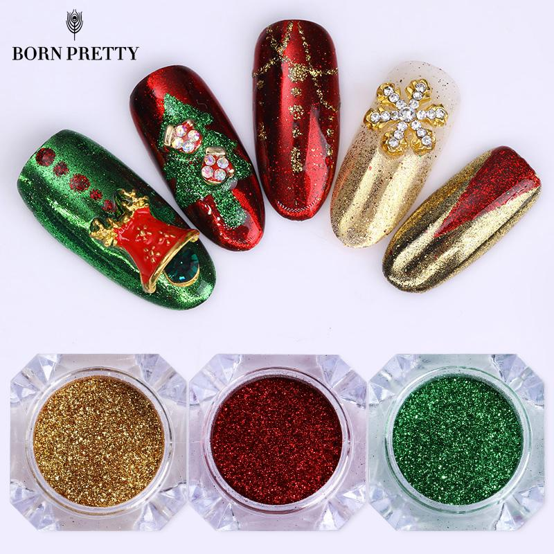 3 Boxes Christmas Series Nail Glitter  Set Mirror Colorful Dust Chrome Pigment  Manicure Nail Art Decorations