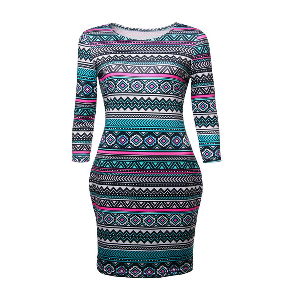3b0557aac98 FEITONG Women 3 4 Sleeve Skinny Slim Pencil Sexy Dress 2018 New Summer  Bohemian Style Print O Neck Casual Short Mini Dress Skirt Quinceanera  Dresses From ...