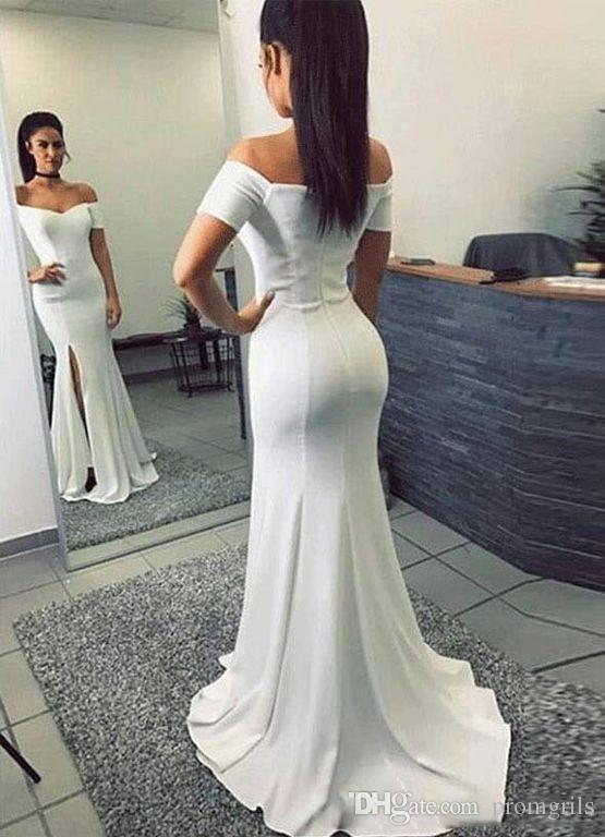 super popular 818a5 be2db Semplici abiti da sera lunghi bianchi con maniche corte off spalla  Sweetheart abiti da sera sirena vestito spaccatura occasione speciale