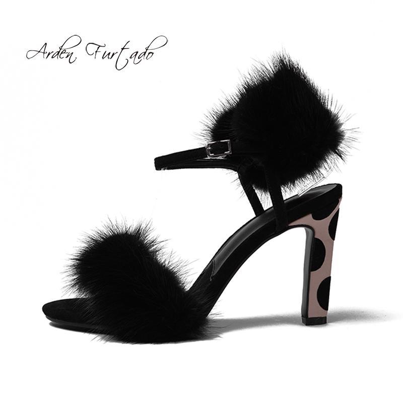 1fc2f5f8a7c44 Arden Furtado 2018 Summer New High Heels 9cm Buckle Strap Fur Sexy ...