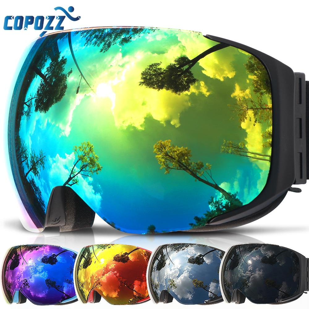 2019 COPOZZ Brand Ski Goggles Replaceable Magnetic Lenses UV400 Anti