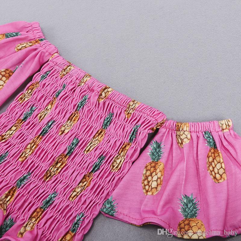 2018 Yeni Bebek Kız Moda Seti Ananas Baskılı Tops Gömlek + Denim Şort 2 Adet Kıyafetler Çocuk Giyim Sevimli Yaz Bebek Kız Giysileri Set