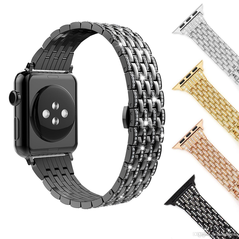 7f96dfc5bab8 Compre Para Apple Watch Series 1 2 3 4 Corchete De Mariposa Diamante Correa  De Acero Inoxidable Reloj Pulsera Cystal Metal Reloj De Pulsera Cinturón 38  ...