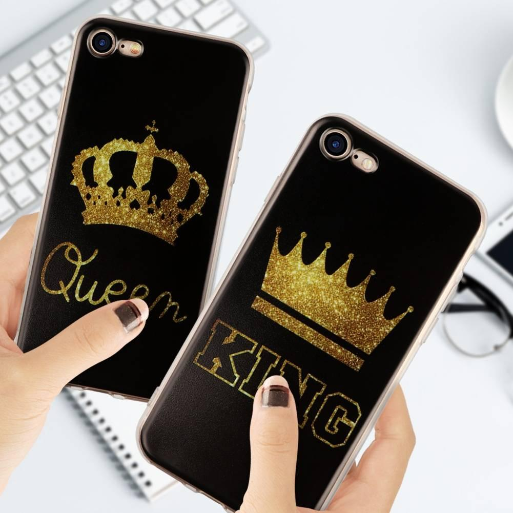 Fashion king queen couple golden case for iphone x skin back cover high quality soft tpu cell phone cell phone bumper case cell phone bumper stickers from