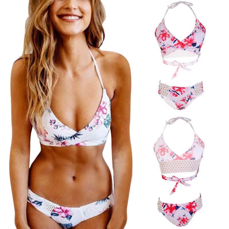 f09ef9fb84 2019 Sexy Swimwear Women Cross Bandage Bikini Set Push Up Padded Bra  Bathing Suit Swimsuit Bikini Push Up Big Breast 2018 Plus Size From  Lin and zhang